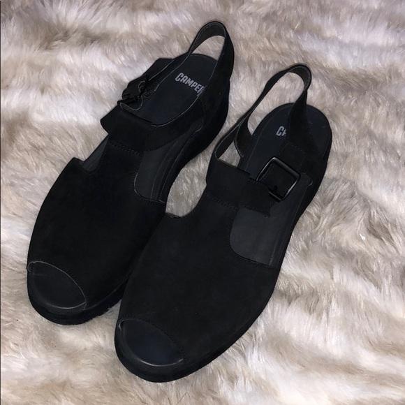 256ddbacb7b Camper Shoes - Camper Suede Black Platform Sandals
